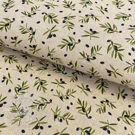 Decoration fabric Linenlook premium Black Olive