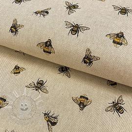Decoration fabric Linenlook premium Bumblebees