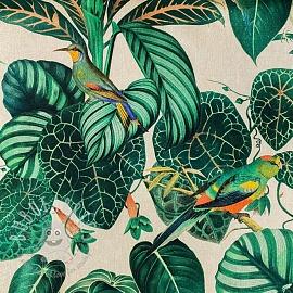 Decoration fabric Linenlook premium Calathea leaves digital print