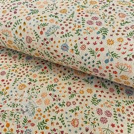 Decoration fabric Linenlook premium Flowery Field