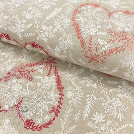 Decoration fabric Linenlook premium Heart bouquet