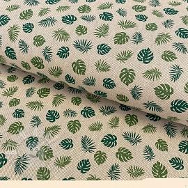 Decoration fabric Linenlook premium Jungle Leaf Monstera