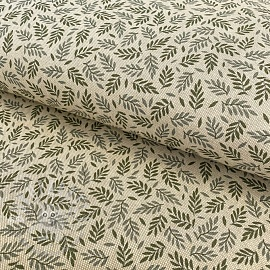 Decoration fabric Linenlook premium Leaf Scandi