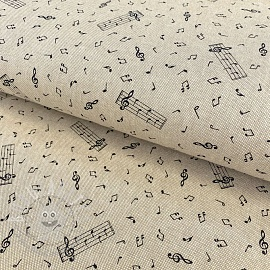 Decoration fabric Linenlook premium Musical Note Dancing