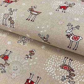 Decoration fabric Linenlook premium Oh my deer