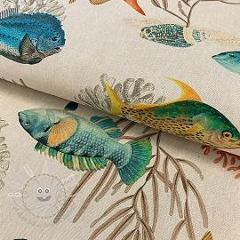 Decoration fabric Linenlook premium Reef Fish digital print