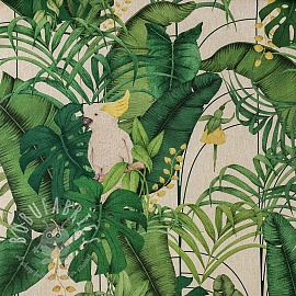 Decoration fabric Linenlook premium Royal Cockatoo green digital print