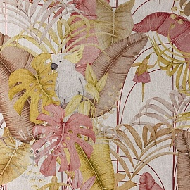 Decoration fabric Linenlook premium Royal Cockatoo yellow digital print