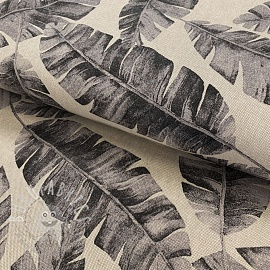 Decoration fabric Linenlook premium Safari leaves