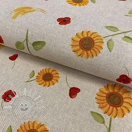 Decoration fabric Linenlook premium Sunflower Poppies