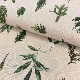 Decoration fabric Linenlook premium Under the mistletoe