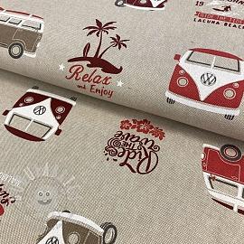 Decoration fabric Linenlook Premium VW California Paradise