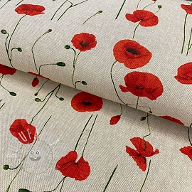 Decoration fabric Linenlook Red plants