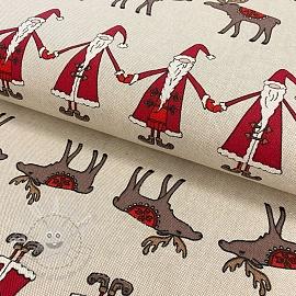Decoration fabric Linenlook Santa and moose