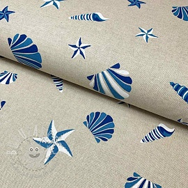 Decoration fabric Linenlook Shell starfish beach