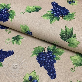 Decoration fabric Linenlook Vintage grapes vineyard