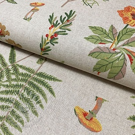 Decoration fabric Linenlook Fern leaf mushrooms