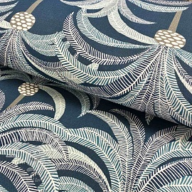 Decoration fabric Palms navy