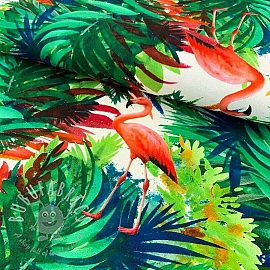 Decoration fabric Jungle flamingo