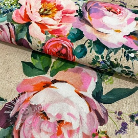 Decoration fabric Roses delicate painting beige digital print