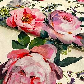 Decoration fabric Roses delicate painting cream digital print