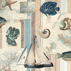 Decoration fabric Sailing vintage map digital print