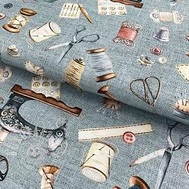 Decoration fabric Sewing kit teal digital print