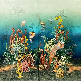 Decoration fabric Underwater Paradise digital print PANEL