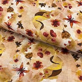 Double gauze/muslin smooth Amor butterflies dark digital print