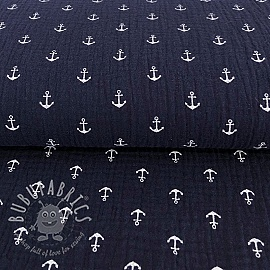 Double gauze/muslin Anchor navy/white