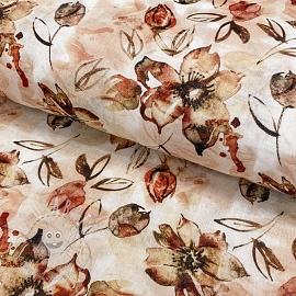 Double gauze/muslin smooth Aquarel blossom digital print