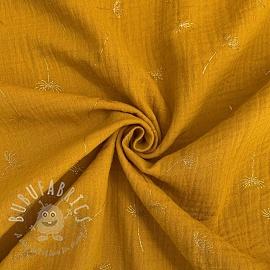 Double gauze/muslin Crazy dandelion ochre gold