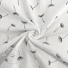 Double gauze/muslin Crazy dandelion white black