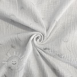 Double gauze/muslin Crazy dandelion white silver