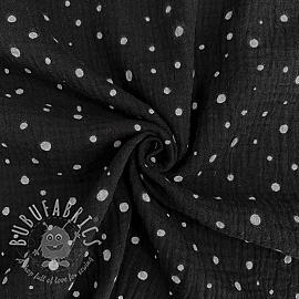 Double gauze/muslin Crazy dots black white
