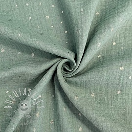 Double gauze/muslin Crazy dots dark mint silver