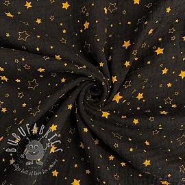 Double gauze/muslin Crazy stars black gold