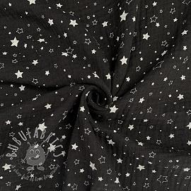 Double gauze/muslin Crazy stars black white