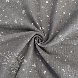 Double gauze/muslin Crazy stars grey silver