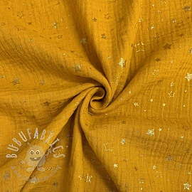 Double gauze/muslin Crazy stars ochre gold