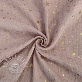 Double gauze/muslin Crazy stars old rose gold