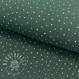 Double gauze/muslin Dots dark green