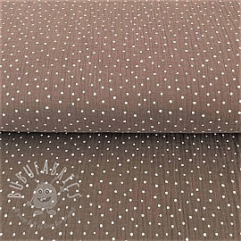 Double gauze/muslin Dots taupe/white