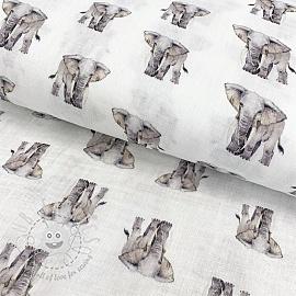 Double gauze/muslin smooth Elephant digital print
