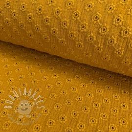 Double gauze/muslin Embroidery 1 ochre