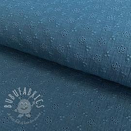 Double gauze/muslin Embroidery 2 indigo