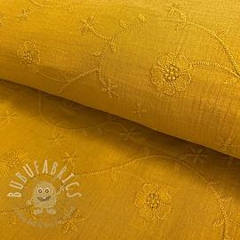 Double gauze/muslin Embroidery Clover ochre