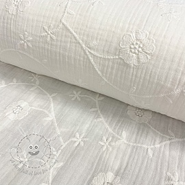 Double gauze/muslin Embroidery Clover off white