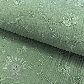 Double gauze/muslin Embroidery Clover old green