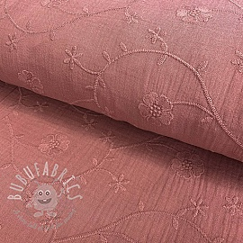 Double gauze/muslin Embroidery Clover old pink